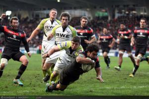 Photos Rugby : essai de Yoann Huget - 08.12.2012 - Toulouse / Osprey  - Heineken Cup