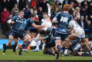Photos Rugby : Lloyd Williams / Benoit Paillaugue - 09.12.2012 - Cardiff Blues / Montpellier - Heineken Cup -
